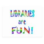 Las bibliotecas son diversión postales