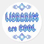 Las bibliotecas son frescas pegatina redonda