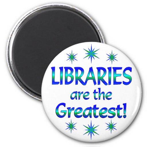 Las bibliotecas son las más grandes imán redondo 5 cm