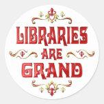 Las bibliotecas son magníficas etiquetas redondas