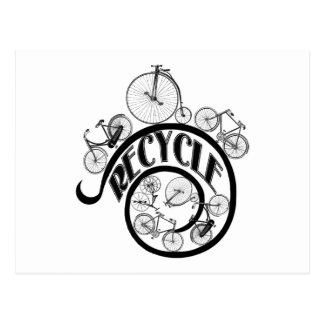 Las bicicletas del vintage reciclan la ropa y los tarjetas postales