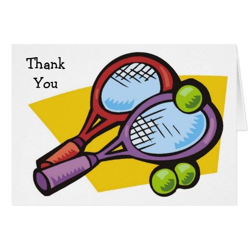 Las bolas de las estafas de tenis le agradecen las tarjeta pequeña