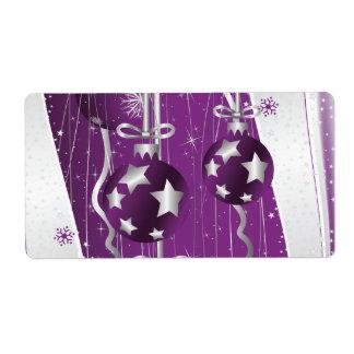 Las bolas púrpuras, grises del navidad protagoniza etiqueta de envío