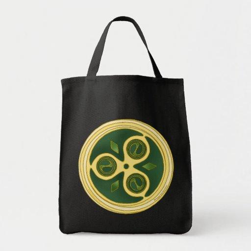 Las bolsas de asas célticas, diseño espiral verde
