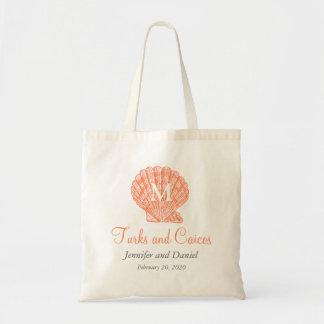 Las bolsas de asas coralinas del boda del destino