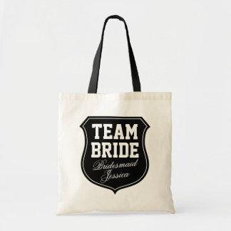 Las bolsas de asas de encargo de la novia del equi