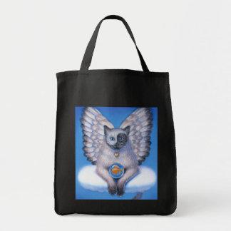 Las bolsas de asas de Yin gatito Yang del ángel