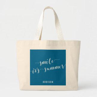 Las bolsas de asas enormes personalizadas azul