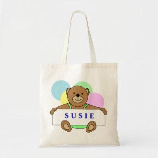 Las bolsas de asas personalizadas del oso de peluc