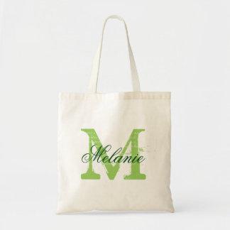 Las bolsas de asas verdes del boda del monograma