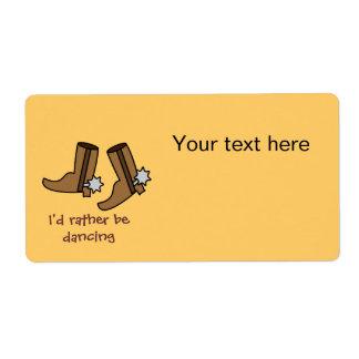 Las botas de vaquero estén bailando bastante el etiqueta de envío
