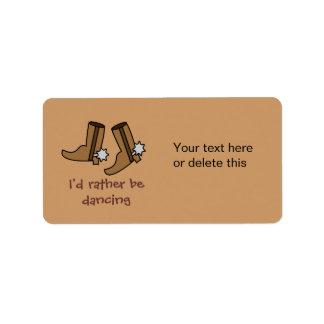 Las botas de vaquero estén bailando bastante el etiquetas de dirección