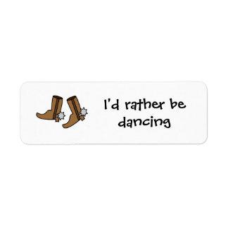 Las botas de vaquero estén bailando bastante el etiquetas de remite