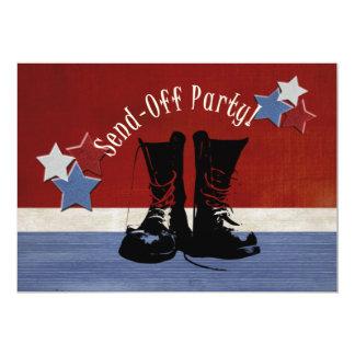 """Las botas del ejército Envían-Apagado al fiesta Invitación 5"""" X 7"""""""