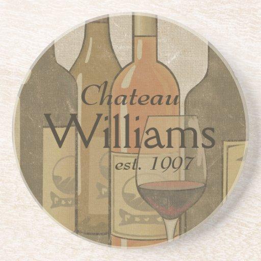 Las botellas de vino del vintage personalizaron el posavasos manualidades
