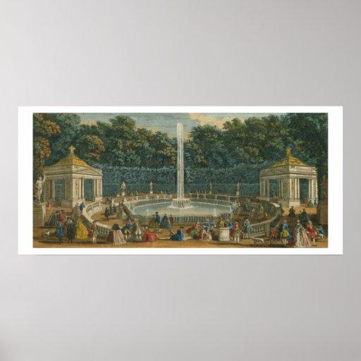 Las bóvedas en el jardín en Versalles, pub. por La Póster