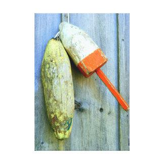 las boyas de madera de la langosta envolvieron la impresiones de lienzo