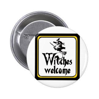 Las brujas dan la bienvenida al drk pin redondo de 2 pulgadas