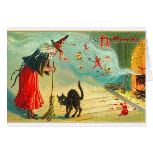 Las brujas retras de Halloween del vintage tienen  Felicitación