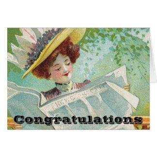 Las buenas noticias de la enhorabuena consiguen tarjeta de felicitación