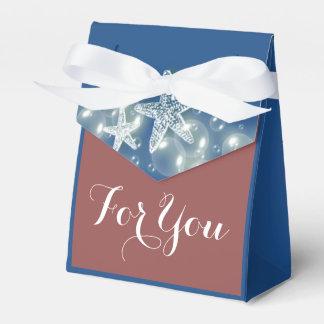 Las burbujas azules de la playa del marsala de las cajas para regalos de boda