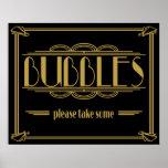 Las burbujas del estilo de Gatsby del art déco Póster