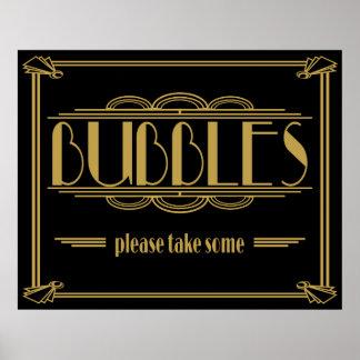Las burbujas satisfacen toman algún art déco póster