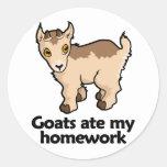 Las cabras comieron mi preparación pegatina redonda