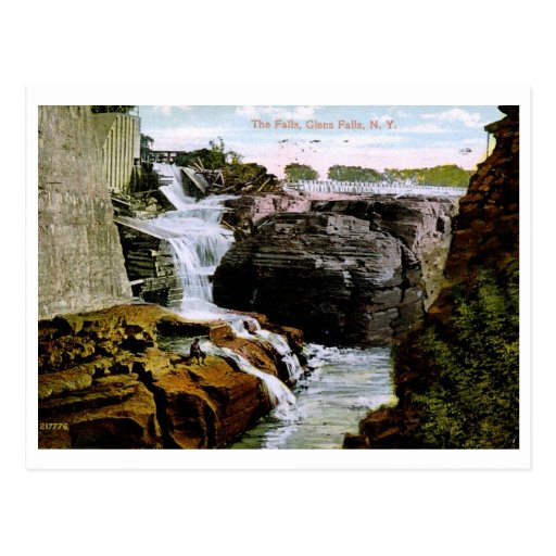 Las caídas, Glens Falls, vintage 1914 de NY Postal