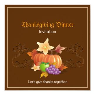 Las calabazas de la acción de gracias dan fruto invitación 13,3 cm x 13,3cm