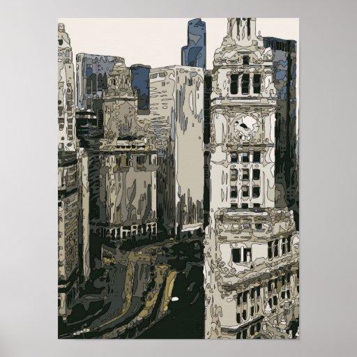 Las calles que apresuran de New York City Poster
