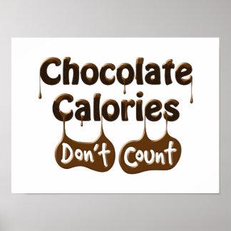 Las calorías del chocolate no cuentan el poster póster