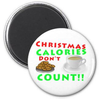Las calorías del navidad no cuentan el humor diver imán de frigorífico