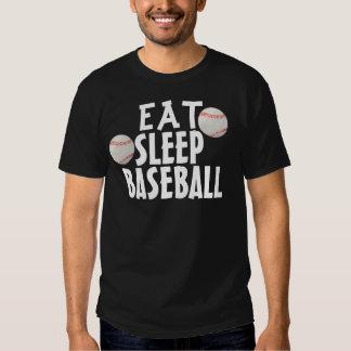 Las camisetas divertidas del béisbol, comen sueño poleras