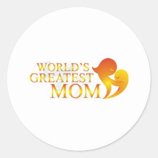 Las camisetas más grandes de la mamá del mundo pegatina redonda