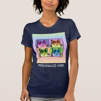 Las camisetas oscuras de las mujeres - gato del