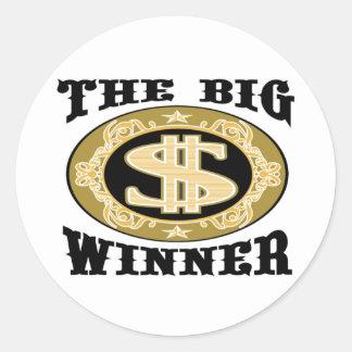 Las camisetas y los regalos grandes del ganador pegatina redonda