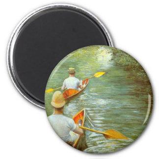 Las canoas por Caillebotte, impresionismo del Imán Redondo 5 Cm