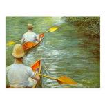 Las canoas por Caillebotte, impresionismo del Postal