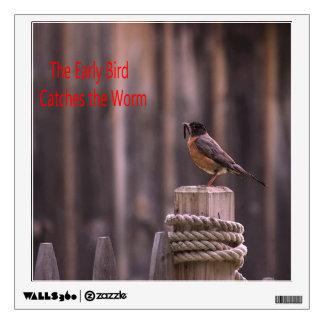Las capturas tempranas del pájaro vinilo adhesivo