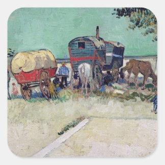 Las caravanas, acampamento gitano cerca de Arles, Pegatina Cuadrada