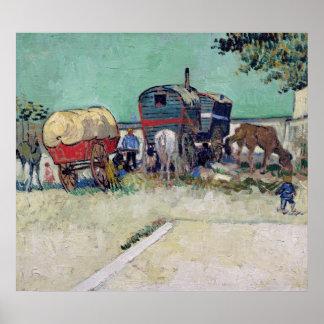 Las caravanas, acampamento gitano cerca de Arles,  Póster