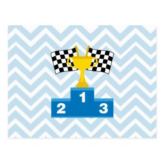 Las carreras de coches F1 señalan el trofeo y la Postal