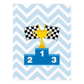 Las carreras de coches F1 señalan el trofeo y la Tarjetas Postales