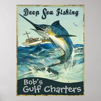 Las cartas profundas de la pesca en mar, corrigen póster