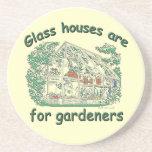 Las casas de cristal están para los jardineros posavasos personalizados
