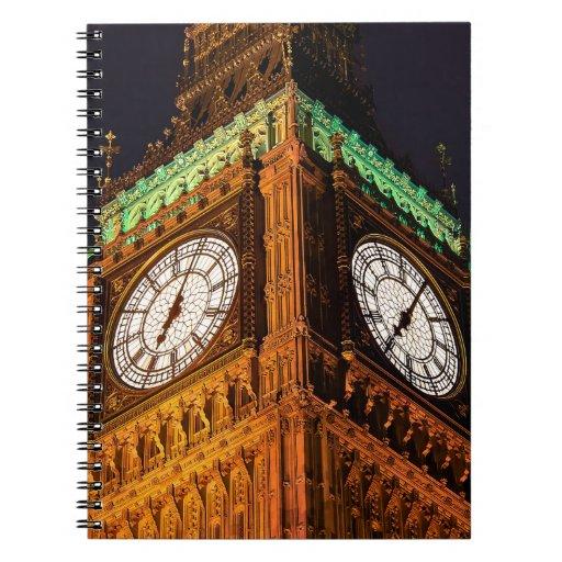 Las casas de la torre de reloj del parlamento, libreta