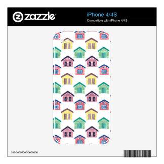 Las casas de playa coloridas calcomanía para el iPhone 4