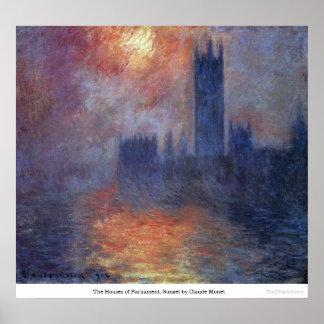 Las casas del parlamento, puesta del sol de Claude Poster