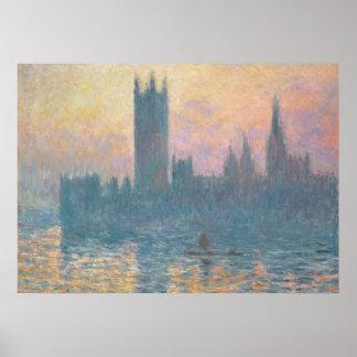Las casas del Parliament, Sunset, 1903 Póster